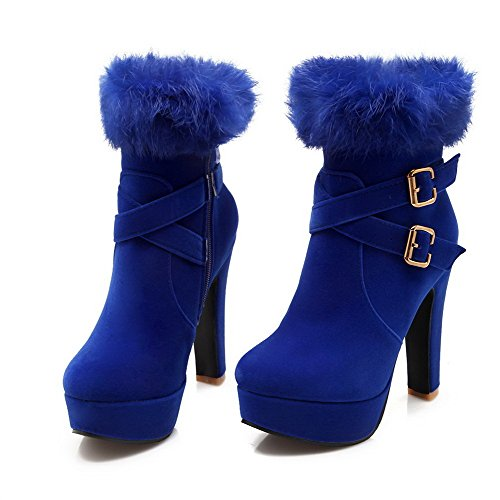 AllhqFashion Womens Frosted Round Closed toe High-heels Solid Boots with Fur Ornament Blue Q1zvgPso