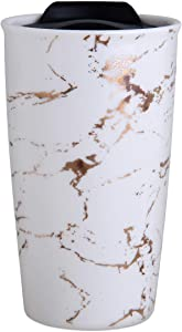 Ceramic Travel Mug - Double Wall Insulated Tumbler with Wrap Lid 12 oz Coffee Travel Mug Suitable for Both Hot and Cold Beverage Coffee Tumbler Dishwasher Safe