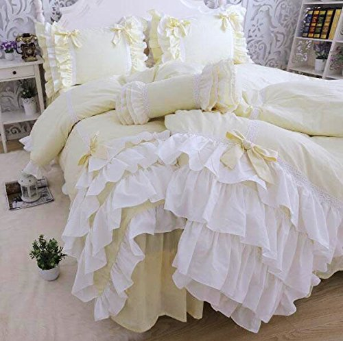 綿100%ホワイトレース掛け布団カバー/イエローベッドスカート/枕カバー ダブル B01N74U4C4