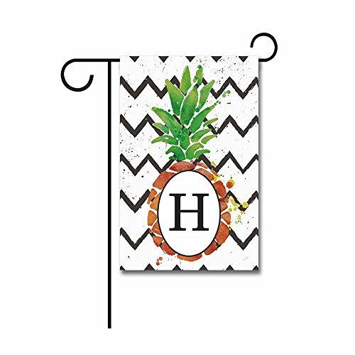 Kafepross Pineapple with Stripes Garden Flag Monogram