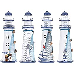 HuntGold New Vintage Handmade Iron Mediterranean Nautical Color Changing LED Lighthouse Lantern Light(Big Size, Random Style)