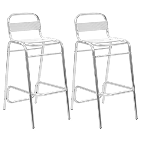 Sgabelli In Alluminio Per Bar.Vidaxl 2x Sedie Impilabili In Alluminio Sgabelli Da Bar