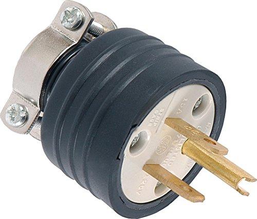 GE 52146 15A 125V Heavy Duty Grounding Plug with Metal Cord Clamp (125v 15a Type Plug)