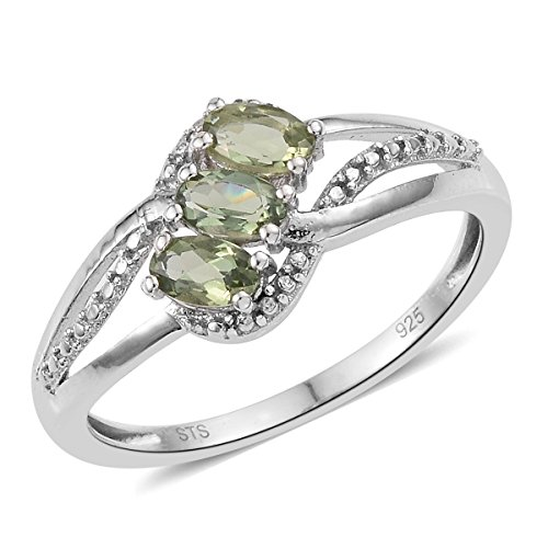 925 Sterling Silver Platinum Plated 0.6 Cttw Oval Color Apatite Gift Ring for Women Size (Apatite Sterling Silver Ring)