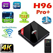 H96 Pro plus 3G/32G Android TV Box Android 7.1 nougat Amlogic S912 Octa Core 4K Dual WiFi 2.4/5GHz Bluetooth 4.1 ott tv box