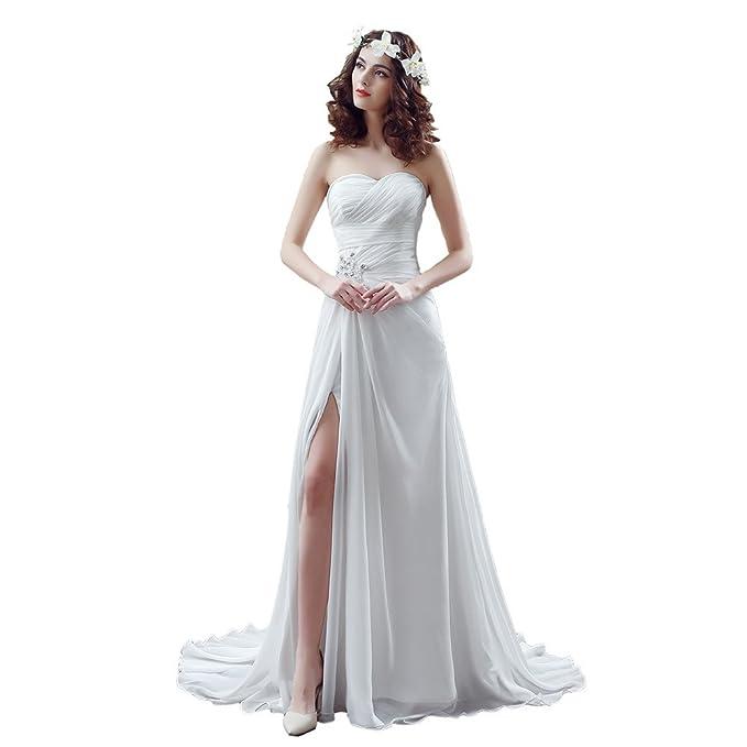 Engerla Mujer Gasa Sweetheart volantes Empire vestido de novia - Iglesia De Split lateral de alta para novia: Amazon.es: Ropa y accesorios