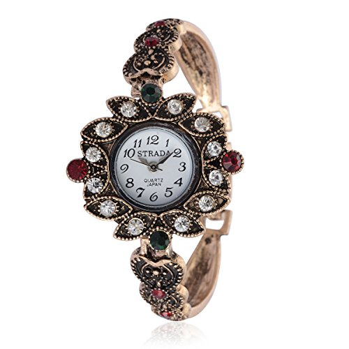 tal Japanese Movement Watch in Goldtone and Stainless Steel Back (Womens Austrian Crystal Watch)