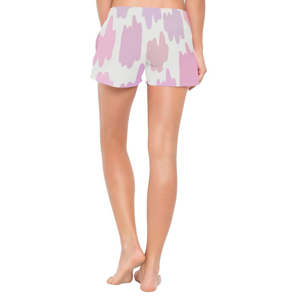 MALPLENA Womens Board Shorts Pink Spots Quick Dry Beach Boardshorts