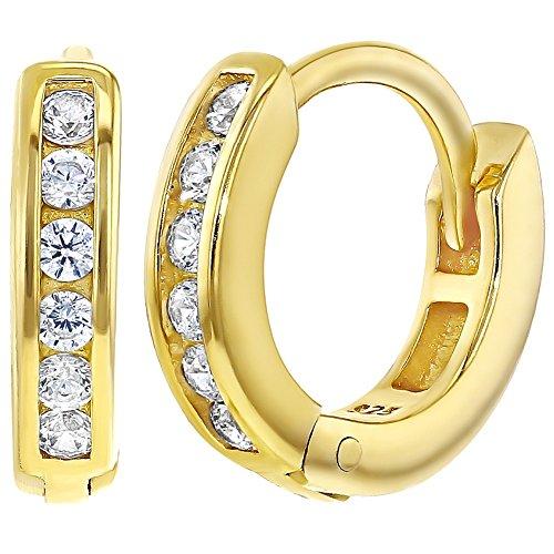 0871ff289331 In Season Jewelry - 925 Plata de Ley Circonita Clara Aros para Niñas 11mm  80%