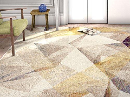 '3 x 7'3 Mid-century Modern shaded pattern soft Rug modern Velvety bright soft Area Rug (Geometric Pattern Rugs)