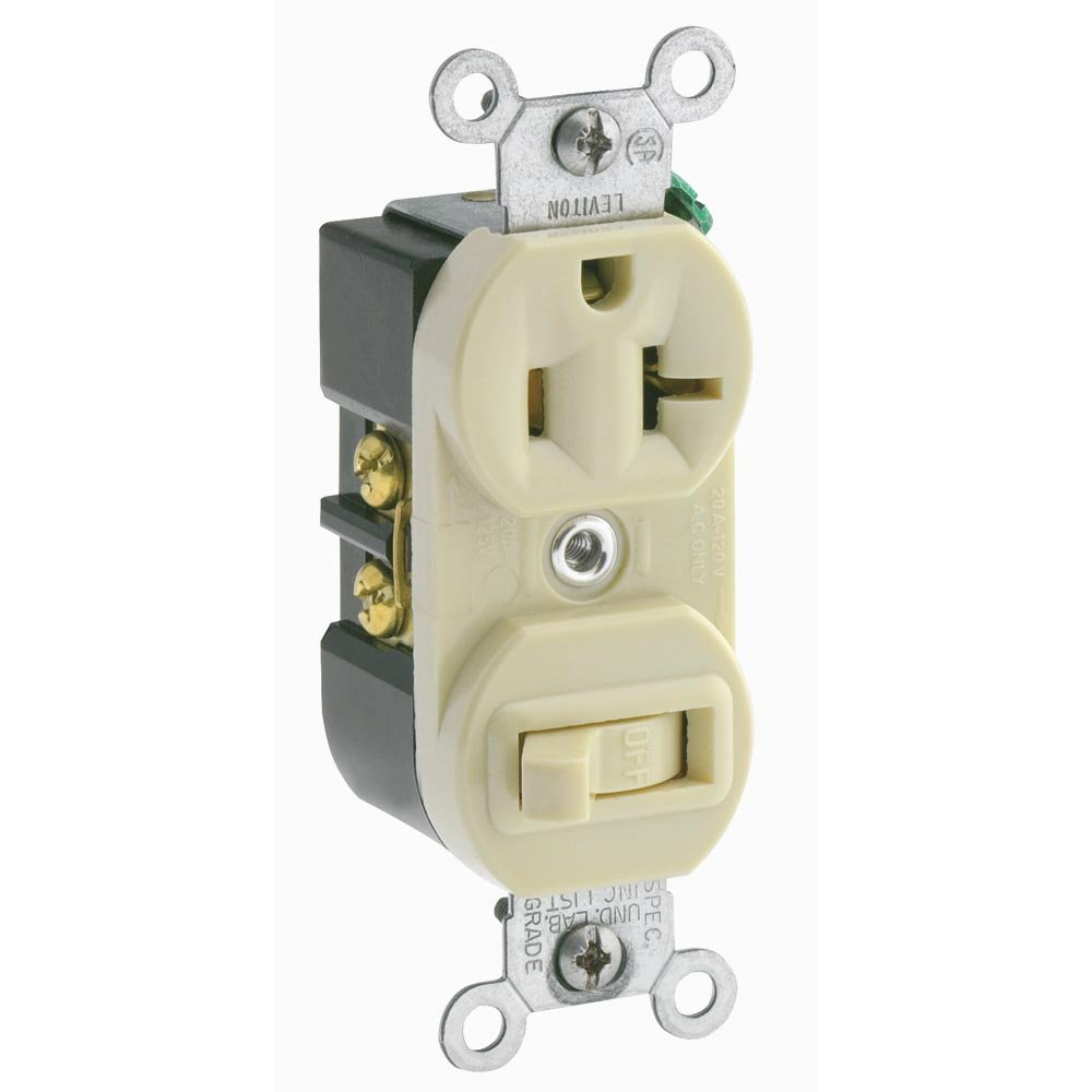 Leviton 5335 20 Amp, 120 Volt, Duplex Style Combination Single Pole ...