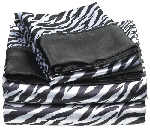 Divatex Home Fashions Royal Opulence Satin Sheet Set Zebra