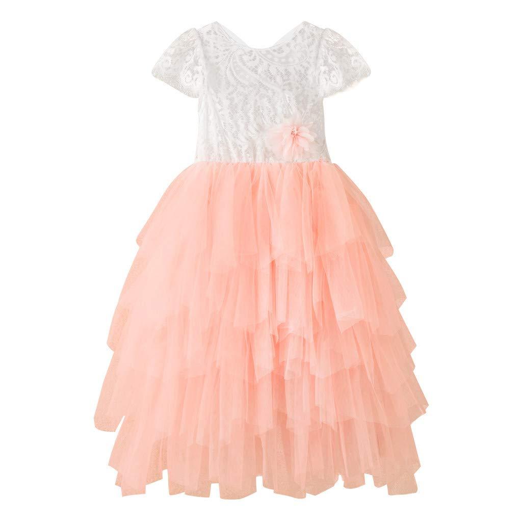 ❤️ Mealeaf ❤️ Toddler Baby Kids Girls Lace Ruffles Patchwork Tulle Dress Prinsess Dresses(Pink,120)
