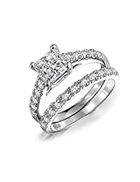 Bling Jewelry Princess Cut Sterling Silver CZ Engagement Wedding Ring Set