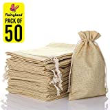 FLAIRYLAND 50 Pcs 5' X 8' Natural Linen Burlap Bags with Jute Drawstring for GiftBags Wedding Party Favors Jewelry Pouch, ChristmasBirthday Presents, Snack Sacks and DIY Craft Arts Projects