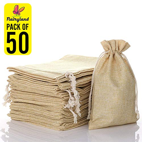 "FLAIRYLAND 50 Pcs 5"" X 8"" Natural Linen Burlap Bags with Jute Drawstring for GiftBags Wedding Party Favors Jewelry Pouch, ChristmasBirthday Presents, Snack Sacks and DIY Craft Arts Projects"