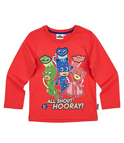 Pj Masks Childrens It's Time to Be a Hero Long Sleeve T Shirt 2017-2018 Red 3-4 Years