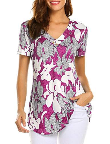 Women Floral Button Flare Shirt Peasant Blouse Short Sleeve Tunics Tops Fuchsia ()