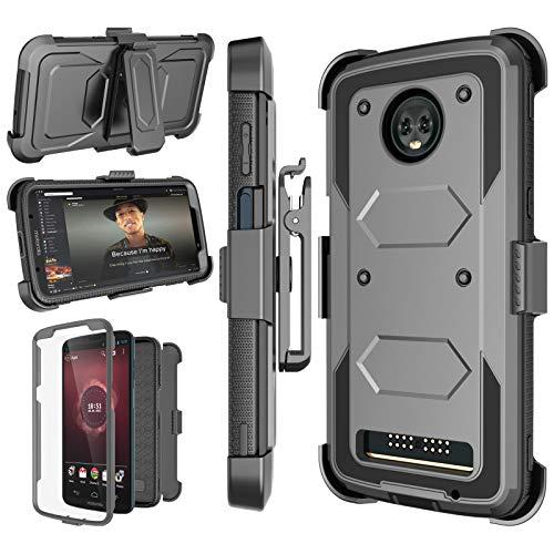 Moto Z3 Case, Motorola Z3 Case, 2018 Moto Z3 Play Holster Clip, Njjex [Nbeck] Shockproof Heavy Duty Built-in Screen Protector Rugged Locking Swivel Belt Clip Kickstand Hard Shell Cover [Grey]