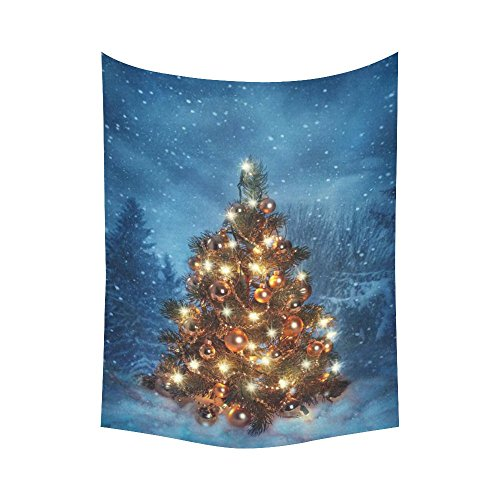 InterestPrint Winter Landscape Wall Art Home Decor, Christmas Tree Tapestry Wall