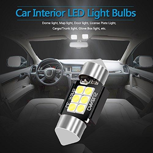 LEDKINGDOMUS 4 Pcs 36mm 1.5 Inch 6 SMD 3030 Canbus Error Free Festoon LED Bulb for Interior Car Lights Dome Map License Plate Trunk Light 6411 6413 6418 DE3423, Color White by LEDKINGDOMUS (Image #3)