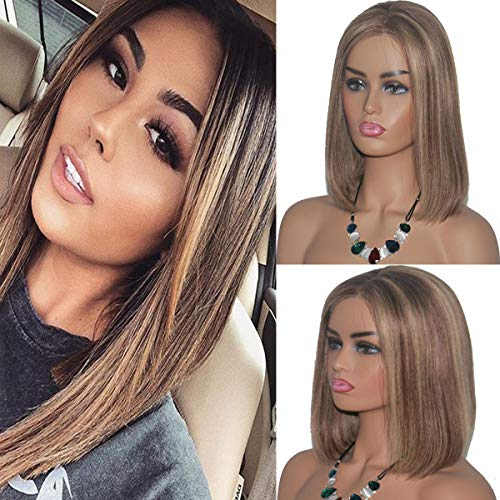 Short Ombre Lace Front Wigs Brazilian Human Hair Bob Wig for White Women Bleached Knots with Baby Hair Silky Straight Glueless Blond Highlight Bob Wigs 13X4 Chestnut Brown to Beige Blonde Full End
