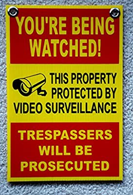 "1Pc Momentous Unique You're Being Watched Signs CCTV Warning Video Monitored Outdoor Neighbor Hr Surveillance Reflective Decals Under Cameras Protected Security Sign Hanger Size 8""x12"" w/ Grommets"