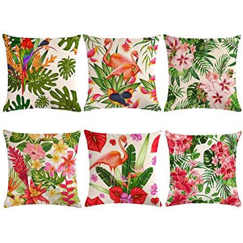 ULOVE LOVE YOURSELF Set of 6 Tropical Throw Pillow Covers Tropical Leaves&Flowers with Parrot Flamingo Bird Pattern Home Decorative Cushion Covers 18