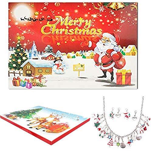 starton Advent Calendars for Kids Charm Bracelet Necklace DIY 22 Charms Set Fashion Jewelry Advent Calendars for Kids Christmas Present (Sliver)