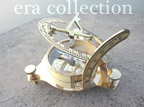 日時計コンパス、ボックスby Eraコレクション日時計コンパスソリッドbrass|sundialコンパス4 inch|sundialコンパスdecor|compass forハイキングMarine 4インチコンパスアウトドアGarden LargeアンティークNauticalケース
