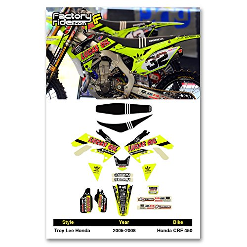 - Enjoy MFG 2005-2008 CRF 450 NEON Troy Lee Designs Lucas Oil Graphics Kit and Seat Cover BUNDLE
