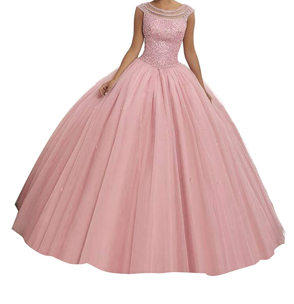 Light Pink TuanYuan Girls 15 16 Boat Neck Full Beaded Ball Gowns Women Quinceanera Dresses