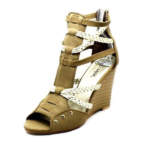 Beige Gold Riemchen offene Spitze Keilabsatz-Sandalen