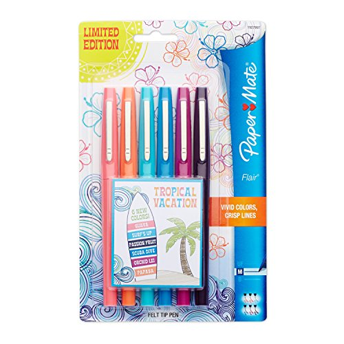 Paper Mate Flair Porous-Point Felt Tip Pen, Medium Tip, Limited Edition Tropical Vacation Colors, 6-Count (Felt Tip Pens Fine)