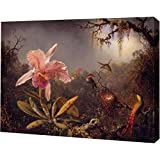 """Cattleya Orchid and Three Brazilian Hummingbirds by Martin Johnson Heade - 12"""" x 15"""" Gallery Wrapped Giclee Canvas Art Print - Ready to Hang"""