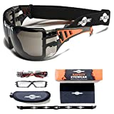 ToolFreak-Safety Glasses with Foam Padding | Protective Eyewear with Improved Vision For Men & Women | Treated to Help Reduce Fog and Scratch | Maximum UV Protection | Hard Case & Cloth,Tinted Lens