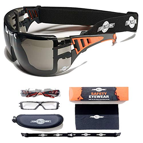 ToolFreak Rip-Out Safety Glasses with Foam Padding | Protective Eyewear with Improved Vision For Men & Women, Impact & UV Protection,Hard Case & Cloth,Tinted Lens