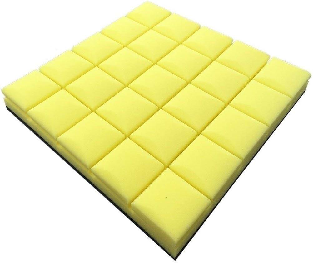 試聴室吸音材-ChenSY 正方形の音響パネル、色の厚い材料のピアノ室のオフィスオフィス簡単に吸音綿10PCSをインストールする 車用断熱吸音材 (Color : Yellow)