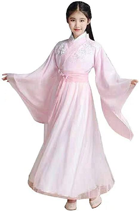 Amazon Com Peachi Girls Chinese Robe Vintage Ancient Hanfu Children S Day Cosplay Party 150 Pink Clothing