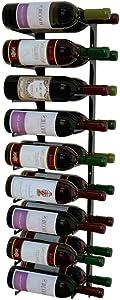 Revue 18 Bottle Wall Mounted Wine Rack, 3 FT, Double Deep, Satin Black, Modern Wine Storage, Earthquake Resistant