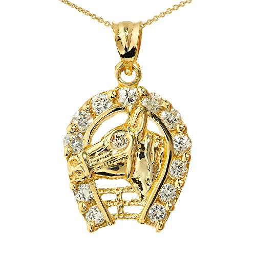 10k Yellow Gold Horse Head with Horseshoe Lucky Charm Pendant Necklace, (14k Horse Head)