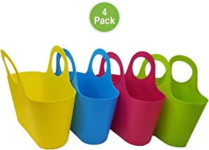 Pro Image Small Plastic Carrying Basket w/Handle 13 x 7X 11in – Assorted Colors Hanging Storage Basket Great for Arts & Crafts & Classroom (4 Pack)