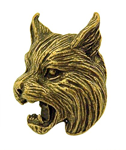 Bronze Tone High Relief 3-Dimensional Bobcat School Mascot Pin, 1 Inch