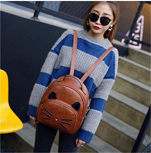 Nueva moda mujer mochila alta calidad PU cuero mochila Gato lindo de la escuela de hombro bolsos para chicas adolescentes Mini bolso de la mujer Sac Brown
