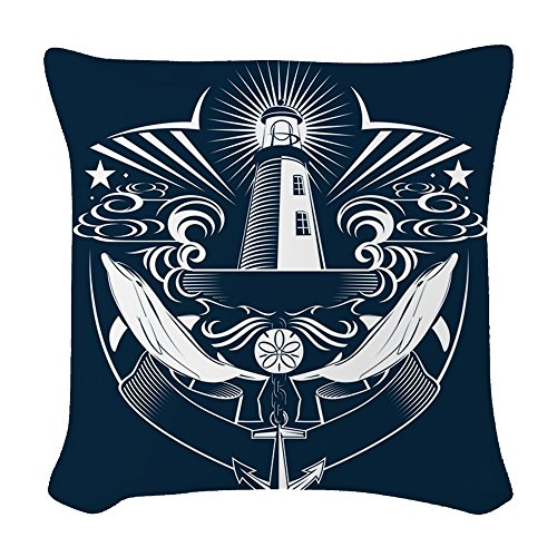 Woven Throw Pillow Lighthouse Crest Anchor Dolphins