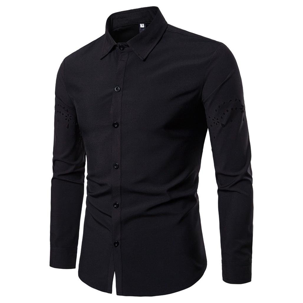 WUAI Men's Long Sleeve Hollow Sleeve Fashion Personality Active Slim Fit Casual Button Down Shirts(Black,US Size M = Tag L)
