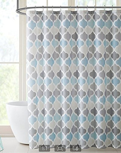 Chic D Blue And Grey Morrocan Tile Pattern Polyester Fabric Kids Shower Curtains Set Bathroom Decor