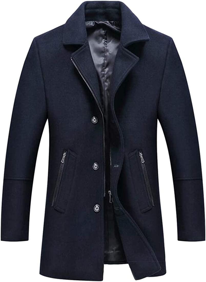 BOBOYU Mens Fall Winter Single Breasted Regular Fit Casual Business Solid Wool Blend Trench Coat Jacket Outerwear