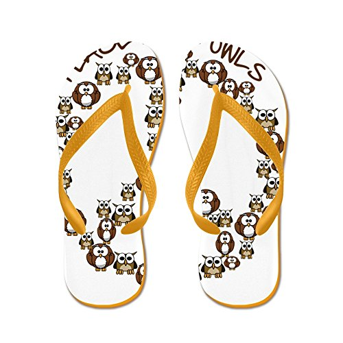 CafePress Peaceloveowls - Flip Flops, Funny Thong Sandals, Beach Sandals Orange