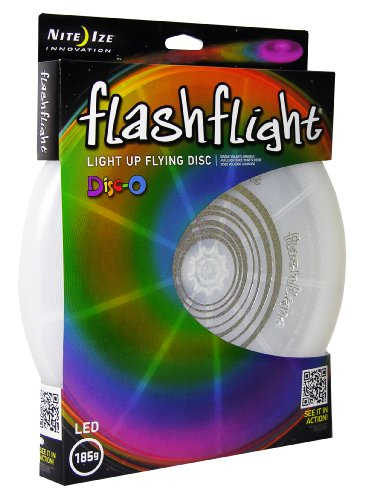 Nite Ize Flashflight LED Light Up Flying Disc, Glow in the Dark for Night Games, 185g, Disc-O (Multi) -